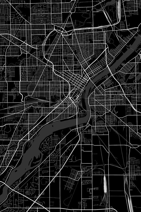 Toldeo Ohio Usa Dark Map Digital Art