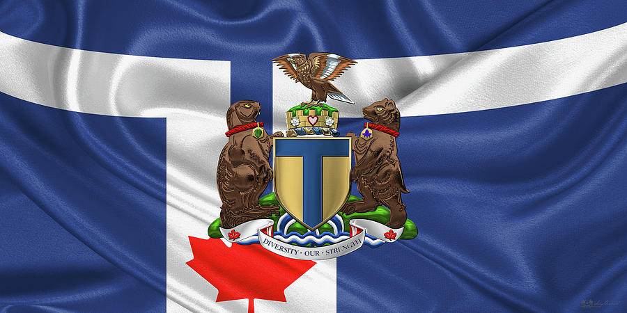 City Of Toronto Photograph - Toronto - Coat Of Arms Over City Of Toronto Flag  by Serge Averbukh