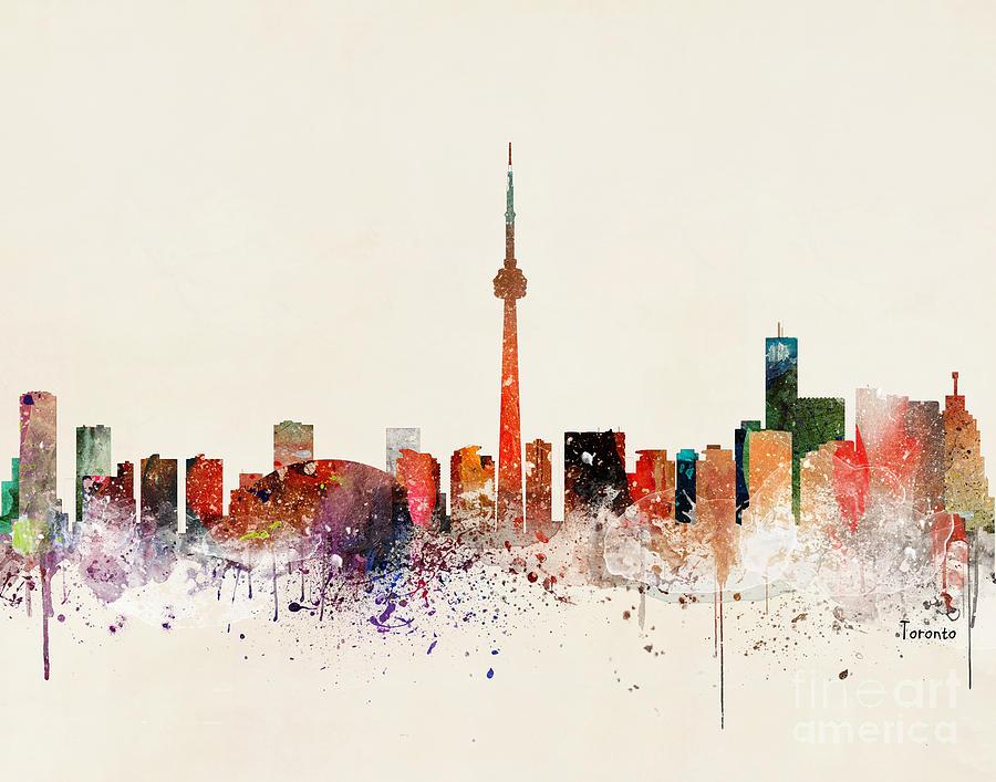 Skylines Painting - Toronto Skyline by Bri Buckley