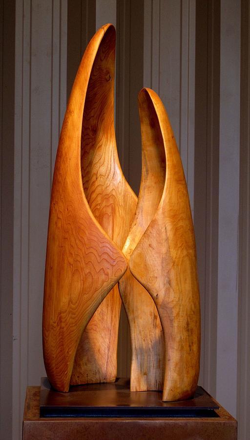 Wood Sculpture - Touching by Robert Hartl