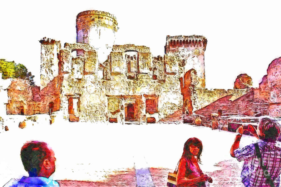 People Painting - Tourists In The Castle by Giuseppe Cocco