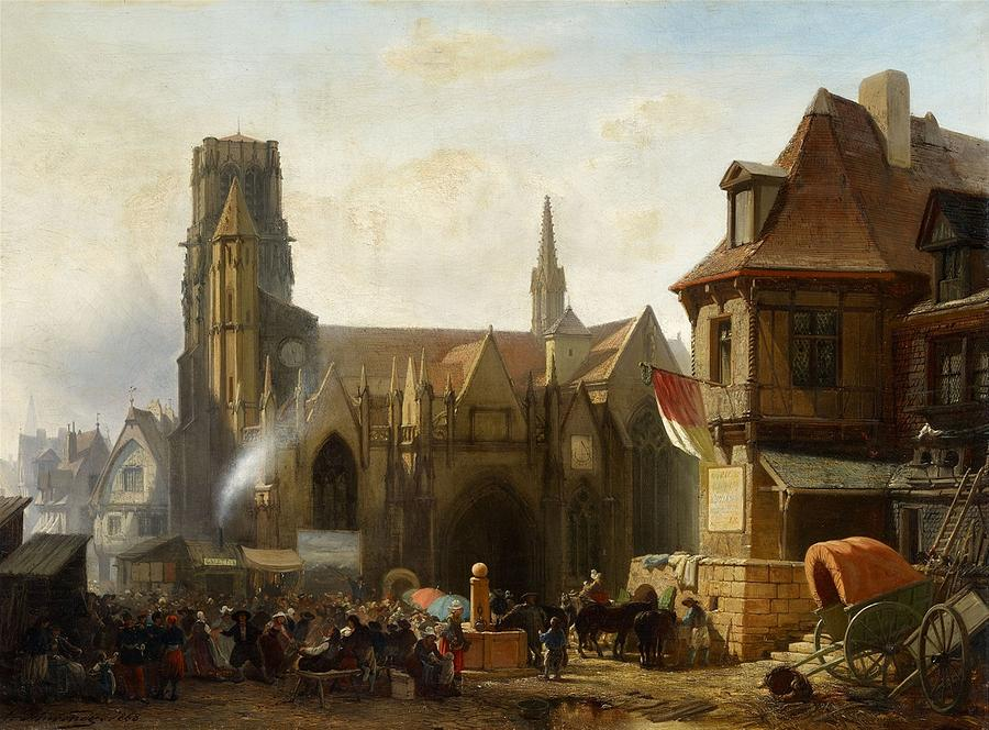 Town Fair By A Gothic Church In France Painting