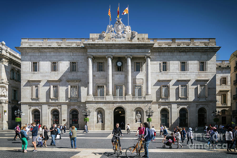 Town Hall Government Building At Sant Jaume Square Barcelona Spa Photograph