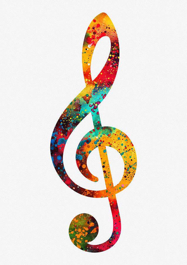 Treble Clef-colorful Digital Art by Erzebet S