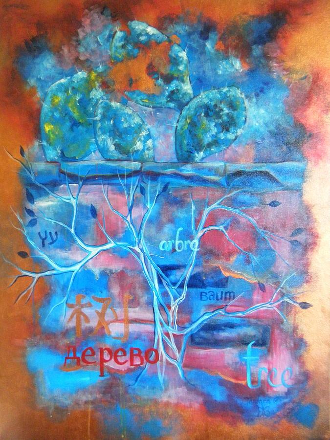 Acrylic Painting - Tree Dusk painting in Acrylic by Tamara Kulish