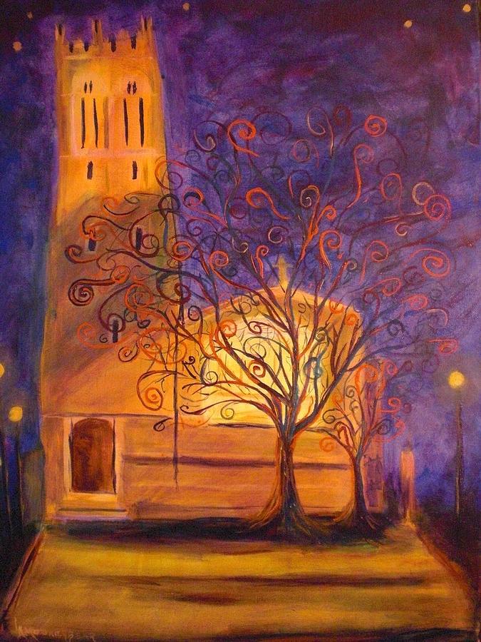 Night Scene Painting - Tree In Ghent by Lauren Mooney Bear