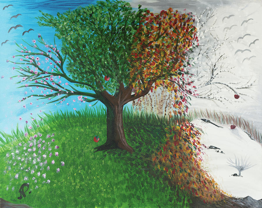 Nature Painting - Tree of Four Seasons by Nicole Paquette
