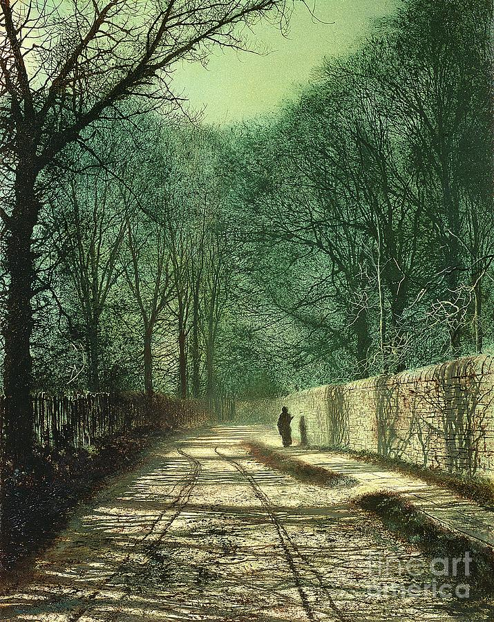 Leeds Painting - Tree Shadows In The Park Wall by John Atkinson Grimshaw