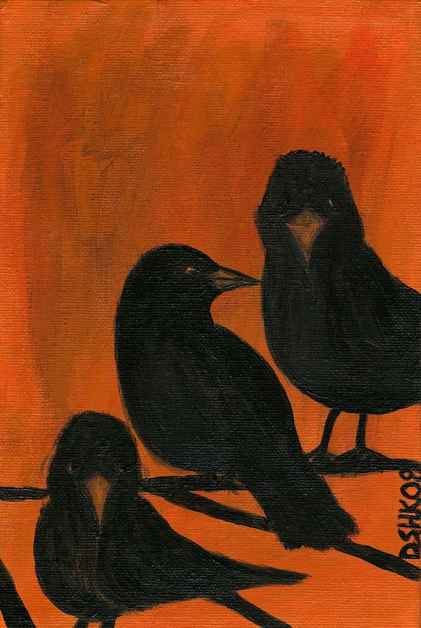 Crows Painting - Trois Quervos by Diane Korf