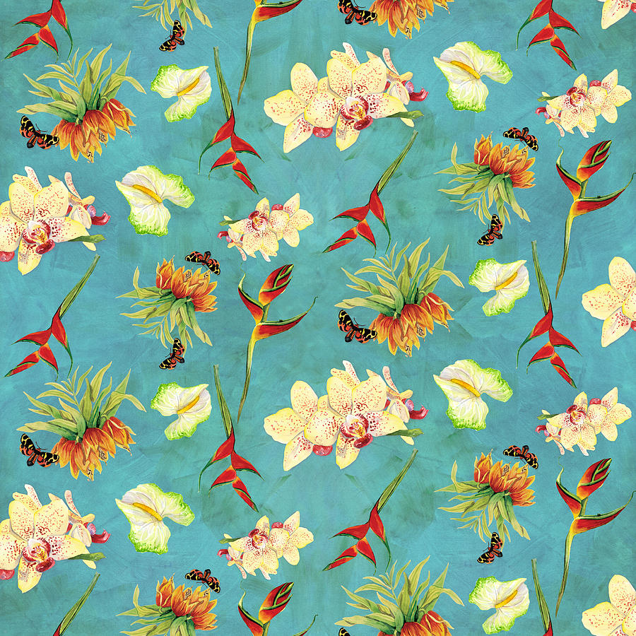 Orchid Painting - Tropical Island Floral Half Drop Pattern by Audrey Jeanne Roberts