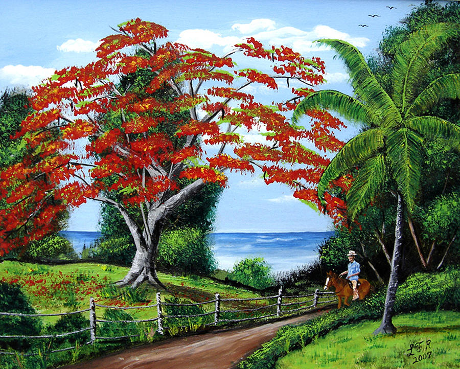 Tropical Landscape Painting By Luis F Rodriguez