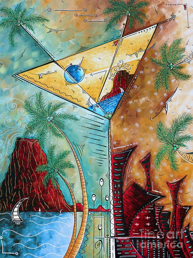 Tropical Martini Original Painting Fun Pop Art Style By Megan Duncanson