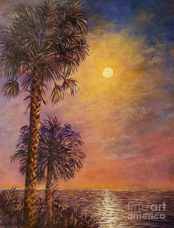 Full Moon Painting - Tropical Moon by Lou Ann Bagnall