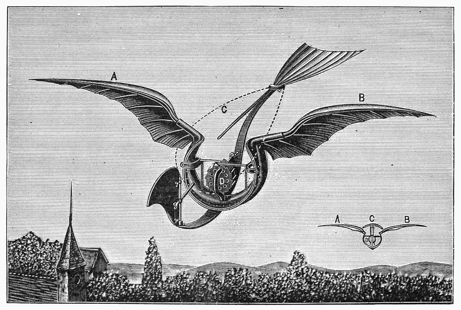 1870 Photograph - Trouv�s Ornithopter by Granger
