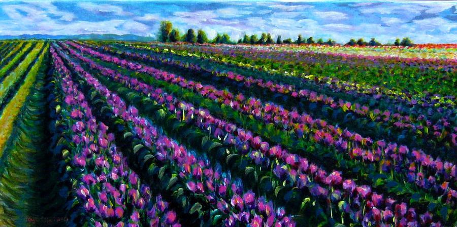 Field Painting - Tulip Field by Faye Dietrich