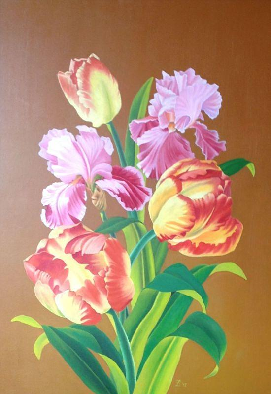 Flowers Painting - Tulips by Zdzislaw Dudek