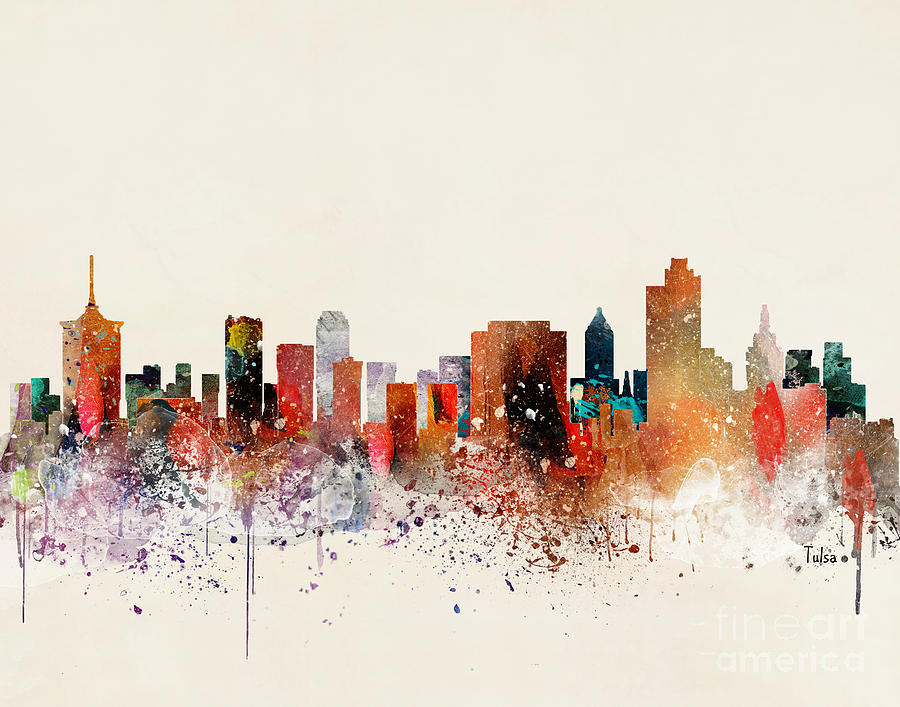 Tulsa Oklahoma Painting - Tulsa Skyline by Bri Buckley