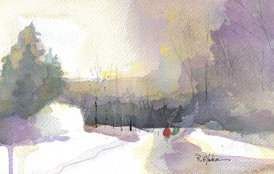 Deep Creek Lake Painting - Turkey Neck Road in Winter by Robert Yonke