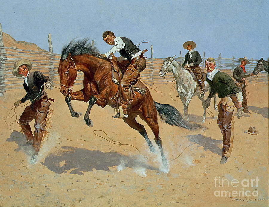 Bill Painting - Turn Him Loose by Frederic Remington