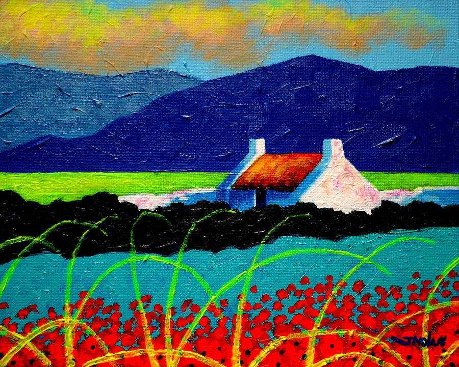 Acrylic Painting - Turquoise Meadow And Poppies by John  Nolan