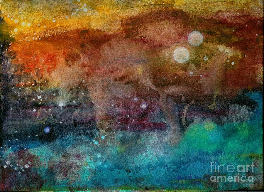 Atmospheric Painting - Twilight In The Cosmos by Janet Hinshaw