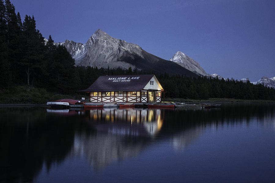 Twilight Maligne Lake Boathouse 2777 Photograph