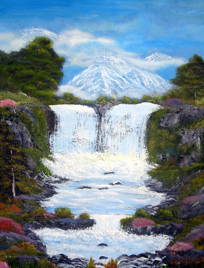 Landscapes Paintings Painting - Twin Falls by Allison Prior