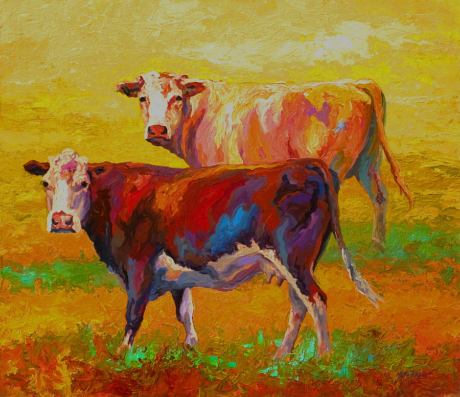 Cows Painting - Two Cows by Marion Rose