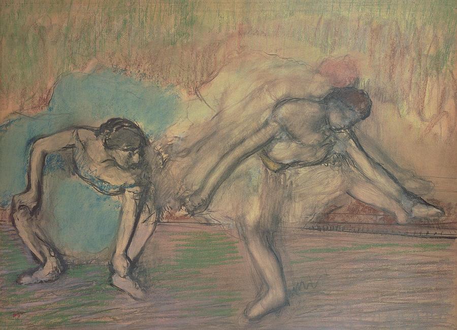 2 Pastel - Two Dancers Resting by Edgar Degas