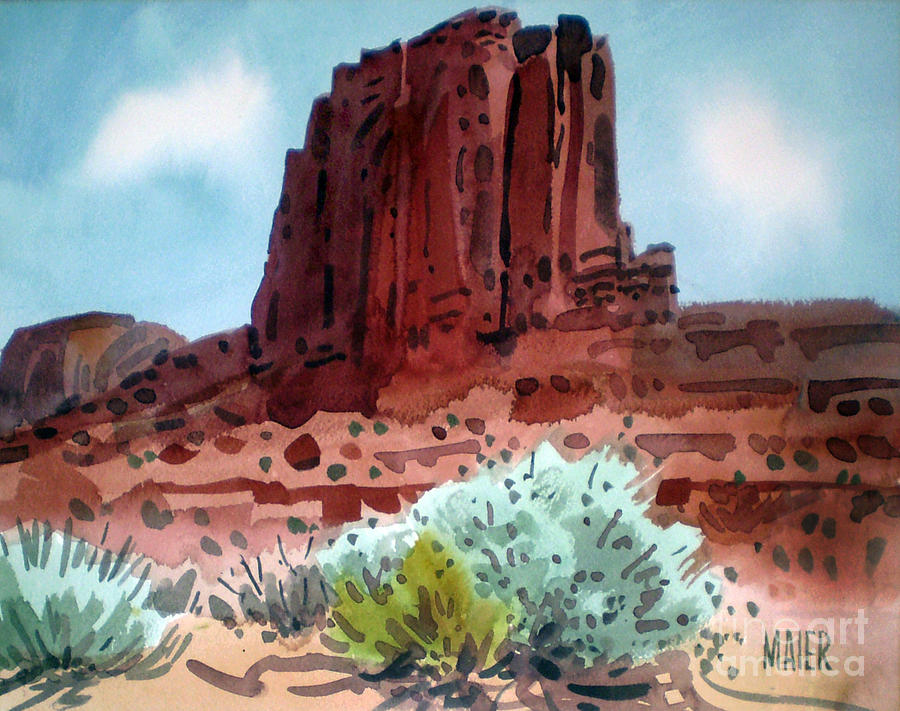 Elephant Butte Painting - Two Elephants Butte by Donald Maier