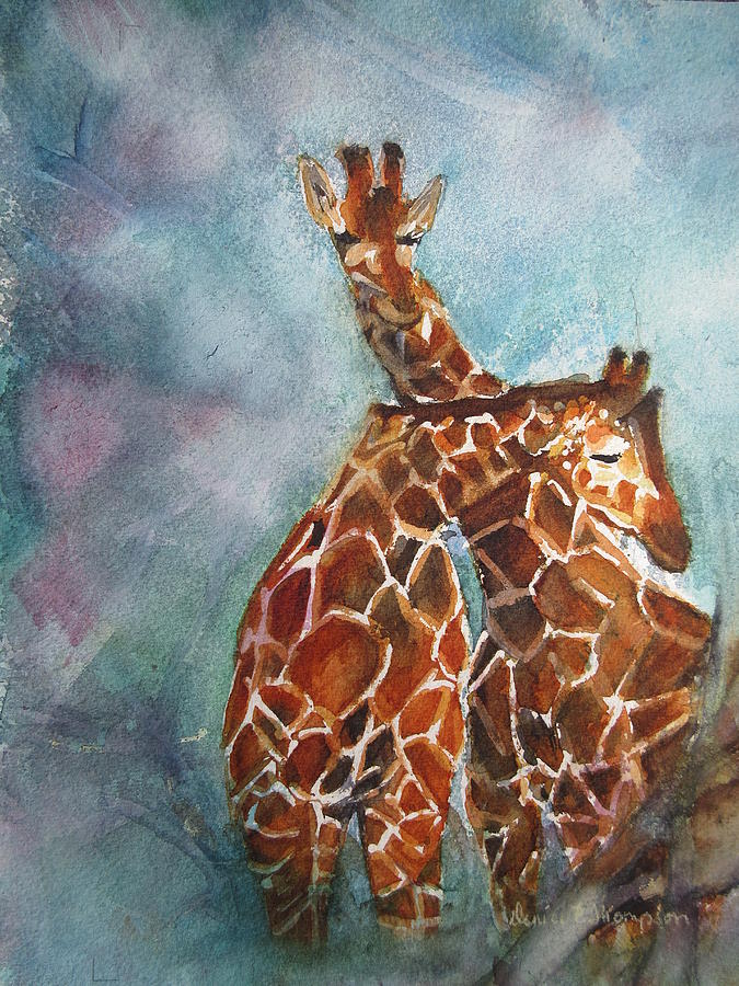 Nature Painting - Two Giraffes by Denice Palanuk Wilson