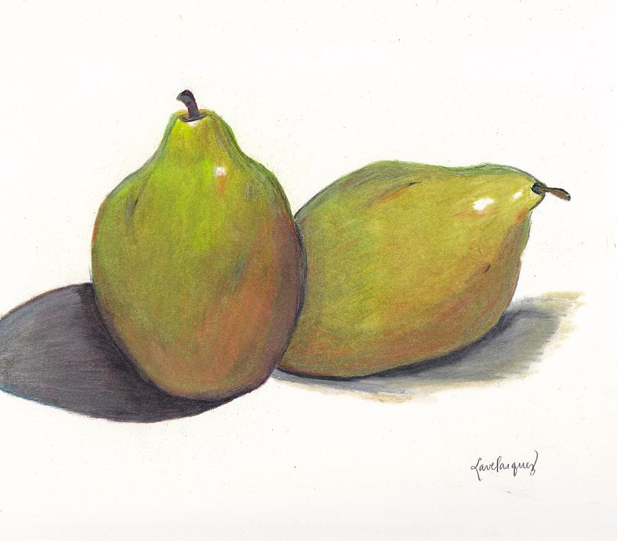 Still Life Drawing - Two Green Pears by Lea Velasquez