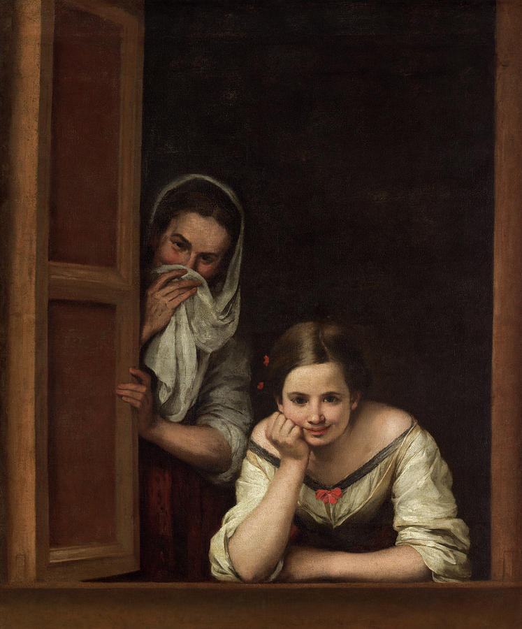 Baroque Painters Painting - Two Women At A Window by Bartolome Esteban Murillo