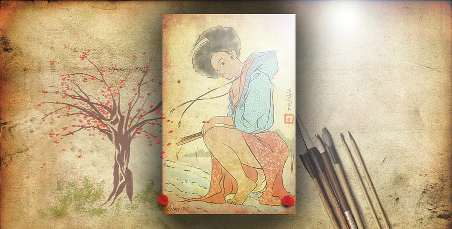 Afro Digital Art - Ukyo-e Soul by Baroquen Krafts
