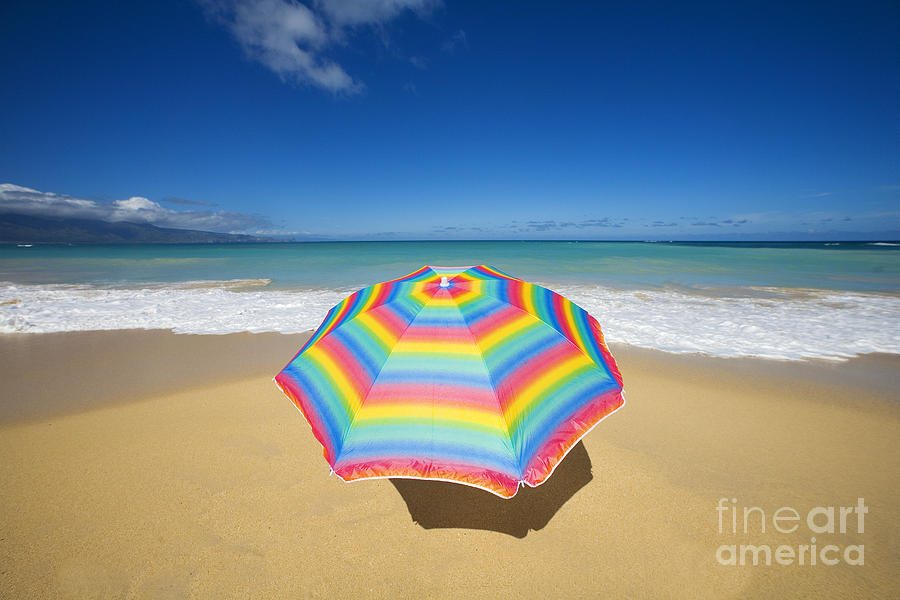 Afternoon Photograph - Umbrella On Beach by Ron Dahlquist - Printscapes