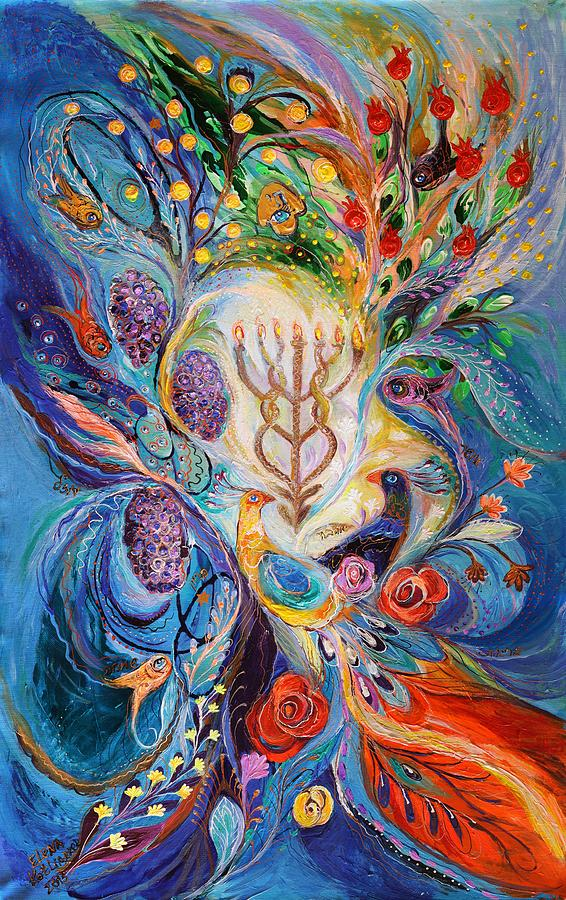 Judaica Store Painting - Under The Light Of Menorah by Elena Kotliarker