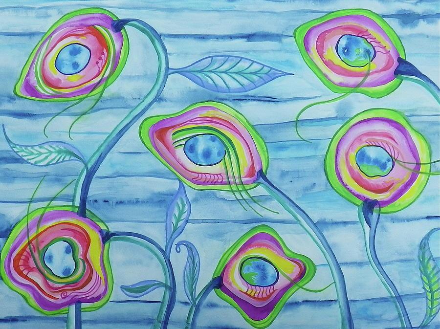 Watercolor Painting - Underwater Space Flowers by Erika Swartzkopf