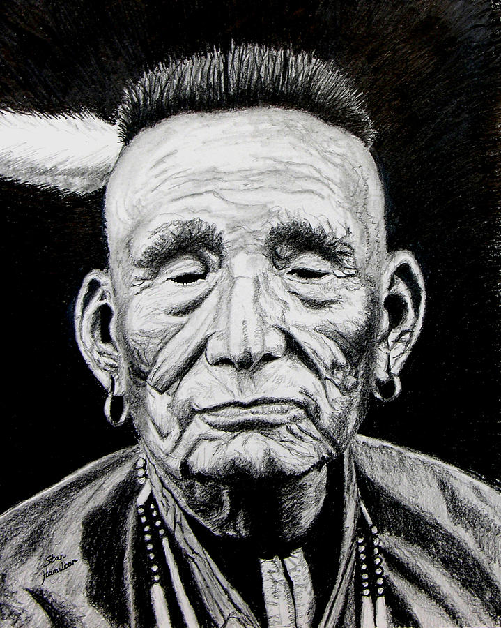 Indian Drawing - Unknown Indian by Stan Hamilton