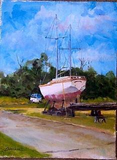 Boat Yard Painting - Up For Repairs by Bob Herbert