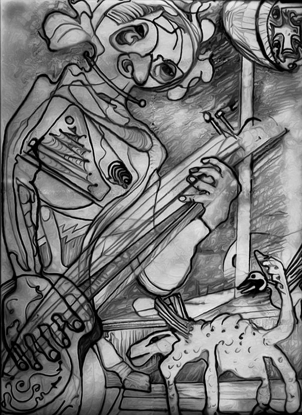 Music Drawing - Up In Here by Lee M Plate