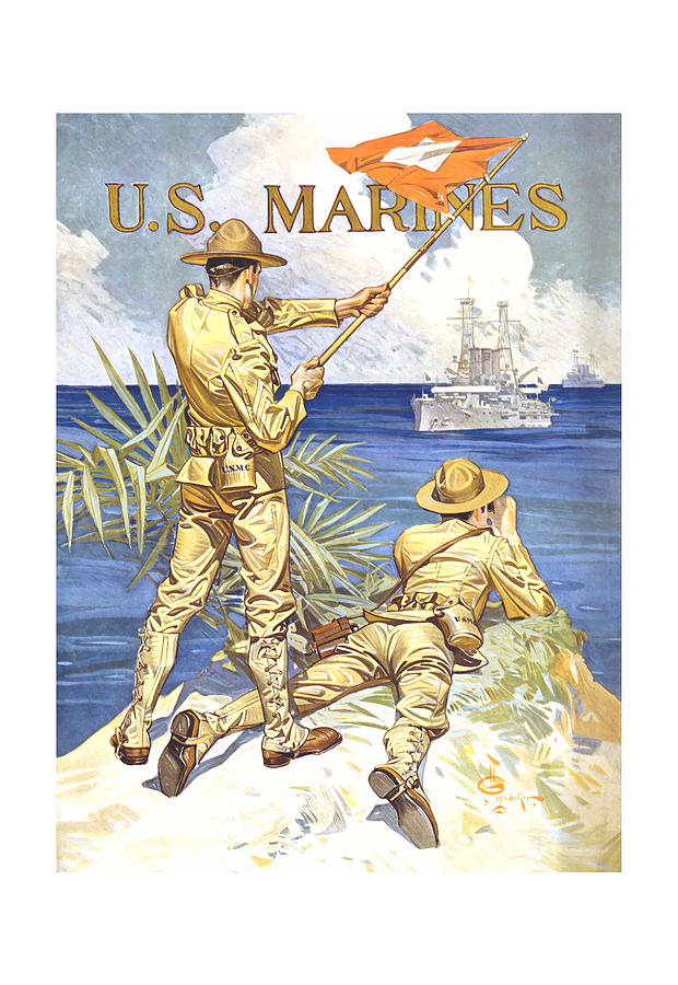 Marines Painting - US Marines - WW1 by War Is Hell Store