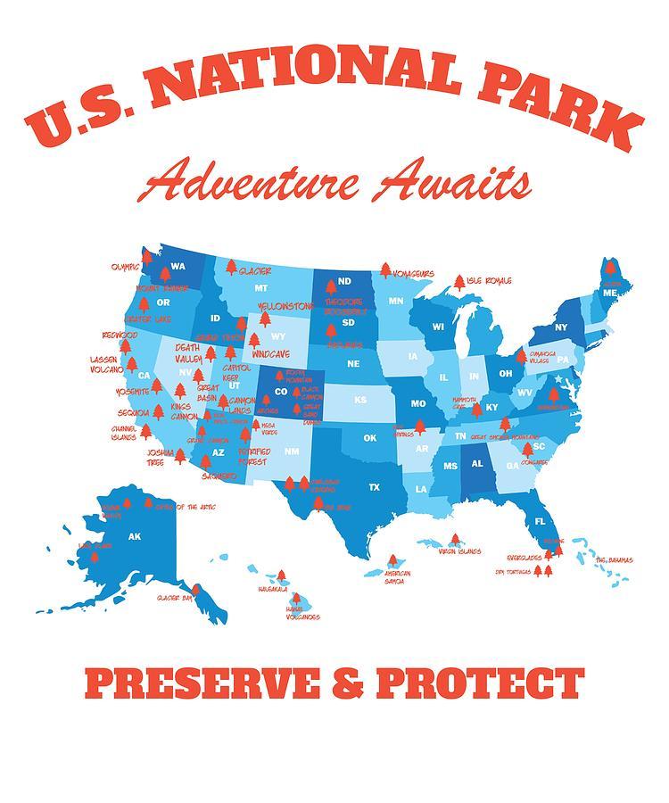 Us National Parks Map Hiker Camper Summer Vacation