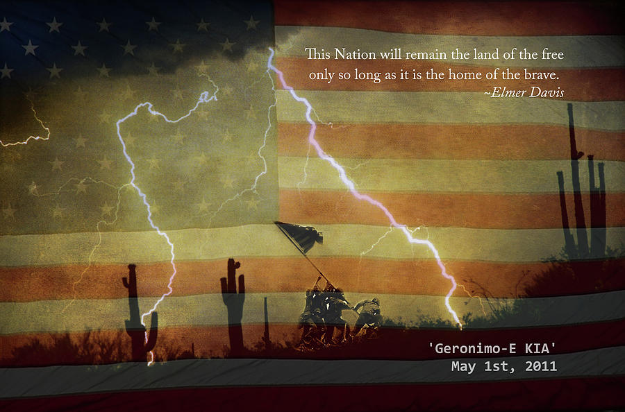 Lightning Photograph - Usa Patriotic Operation Geronimo-e Kia by James BO  Insogna