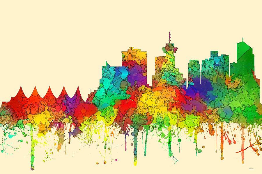 Skyline Digital Art - Vancouver B.c. Skyline by Marlene Watson