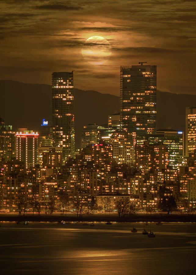 Supermoon Photograph - Vancouvers Supermoon by Mohsen Kamalzadeh