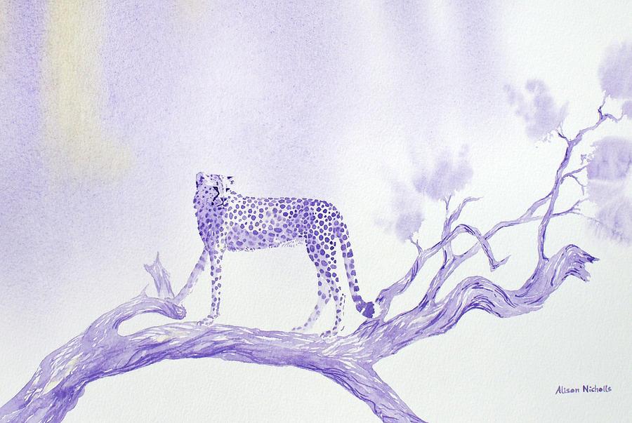 Cheetah Painting - Vantage Point by Alison Nicholls