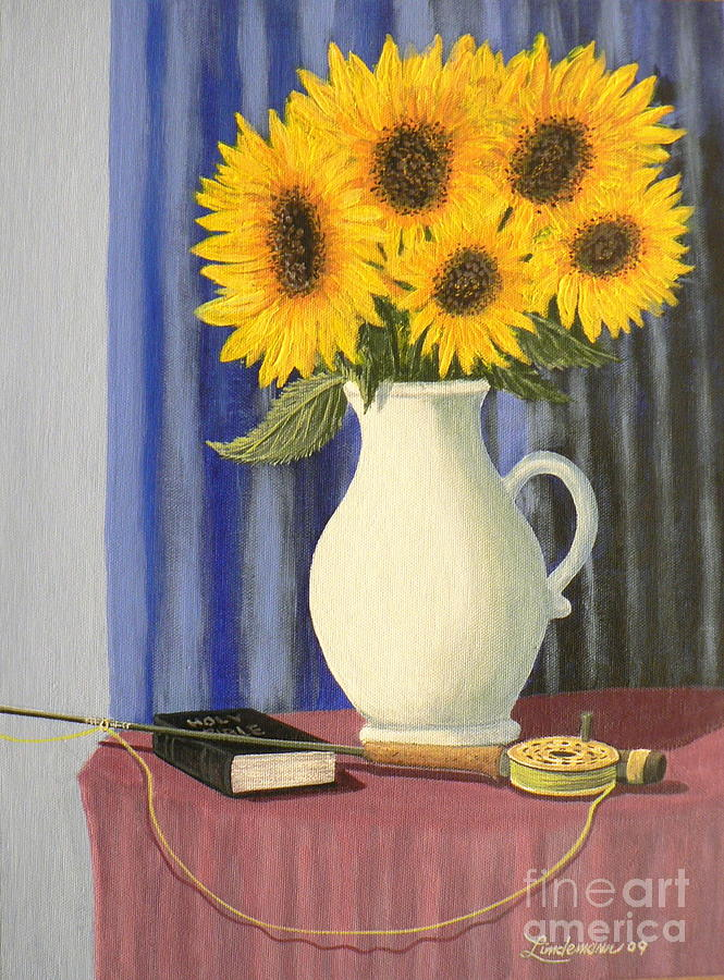 Sunflowers Painting - Vase Of Sunflowers by Don Lindemann