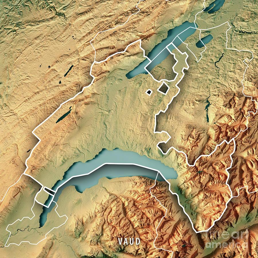 Vaud Canton Switzerland 3d Render Topographic Map Border Digital