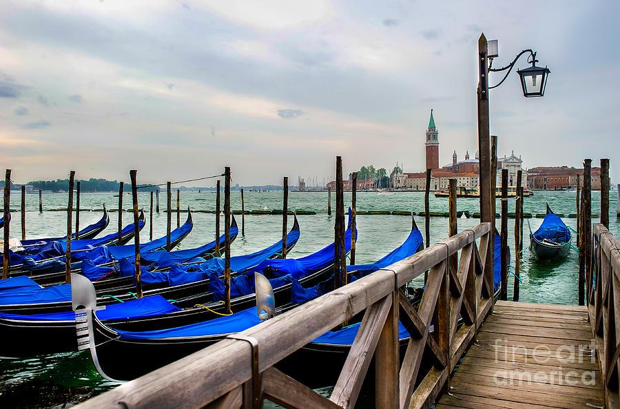 Venice Photograph - Venice Canal Gondolas  by Ken Andersen