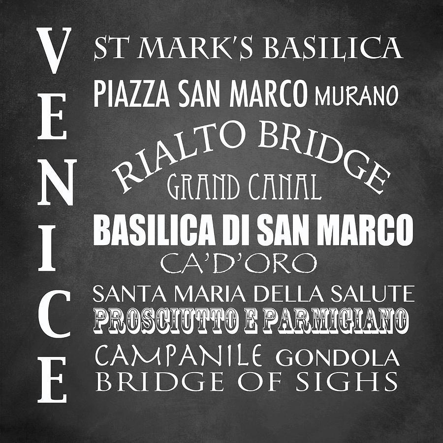 Venice Points Of Interest Digital Art - Venice Famous Landmarks by Patricia Lintner